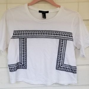 Forever 21 White & Black Crop Top Small